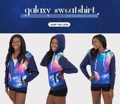 Celestial skies await you! Head over to Eagles Beachwear Online to get your Galaxy Sweatshirt today in a pullover or zip-up. This super-soft sweatshirt has a unique and colorful design covered in stellar planets or constellations. It's a must-have item this season so get it while supplies last!!