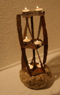 Candlelight  Rasenmäher Candle Holders, Candles, Home, Upcycled Crafts, Wood Steel, Home Decor Accessories, Sculptures, Stones, Homes