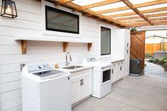 Our Home: Backyard Oasis - Kuzaks Closet-outdoor laundry with pergola/ stock cabinets/ California living Outside Laundry Room, Outdoor Laundry Area, Diy Pergola, Home Renovation, Home Remodeling, Design Studio, House Design, Dirty Kitchen, California Living