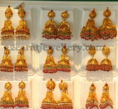 Gold Jhumkas by Khazana | Jewellery Designs