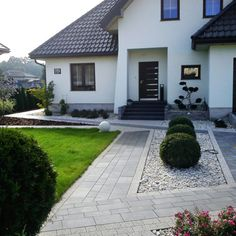 Driveway Design, Garden Design, House Design, Modern Landscaping, Pathways, Front Porch, Sweet Home, Sidewalk, Yard