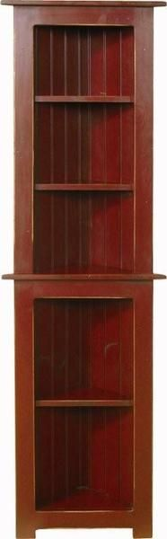 Amish Small Pine Corner Hutch Tongue and groove back with 5 shelves. Available in finish, paint or distressing. Amish made in Pennsylvania. #DutchCrafters