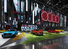 Colorful booth concept designed for Audi brand. Audi Motor, Car Expo, Floor Graphics, Showroom Design, Exhibition Display, Paris Shows, New Opportunities, Booth Design, Experiential