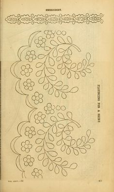 Jul - Dec Flouncing for a Skirt Broderie Anglaise Border Embroidery Designs, Floral Embroidery Patterns, Hand Embroidery Patterns, Vintage Embroidery, Embroidery Stitches, Machine Embroidery, Bordado Popular, Broderie Simple, Cushion Embroidery