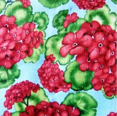 Geraniums Country Red Flowers on Blue Cotton Fabric