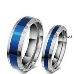 Blue Color Stainless Steel Ring For Women And Men