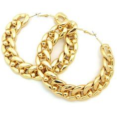Thick Link Chain Hoop Earrings in Polished Gold Tone JE3012GD ($12) ❤ liked on Polyvore featuring jewelry, earrings, goldtone jewelry, hoop earrings, polish jewelry, diamond earrings and chain link jewelry