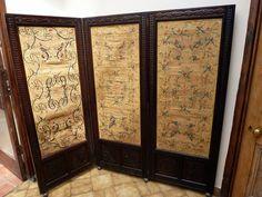 Victorian screens | Victorian Carved Oak Silkwork Three Fold Screen - Antiques Atlas