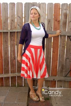 """Sewing tutorial for """"Ice Cream Social Skirt"""" by icandy handmade. I like how the way the vertical stripes hang to look like a sunrise."""