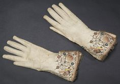 Leather gloves, English, about 1645 The gloves are said to have belonged to Oliver Cromwell (1599-1658), leader of the Parliamentarians during the Civil Wars. Tradition has it that he left them behind, together with a cap and two combs, at Chard in Somerset when he retreated before the advancing army of Charles I (1600-1649) in July