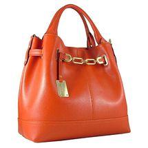 Carbotti Designer Gold Chain Saffiano Leather Hobo Handbag - Orange