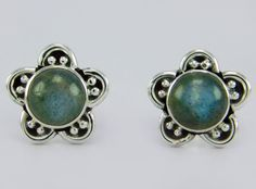Labradorite Stone 925 Sterling Solid Silver Jewelry Stud Earring s.11 mm SS-135