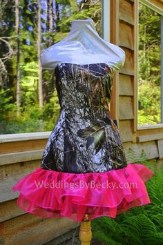 'April'  Bridesmaid or Homecoming camo dress. order online at www.WeddingsByBecky.com