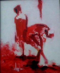 LELKEK/SOULS a kisméretű festmény a halásztelki festőtáborban készült(2013)és maradt..