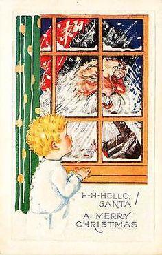 Christmas Santa 1920s Child Sees Santa Claus Antique Vintage Embossed Postcard