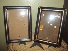 Primitve Black Distressed Wood Picture Frames Lot of 2 ~ 4 x 6 ~  Country Decor #NaivePrimitive