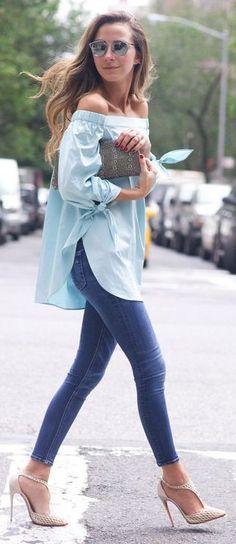 #spring #fashion   Minty OTS Top + Blue Denim  Something Navy