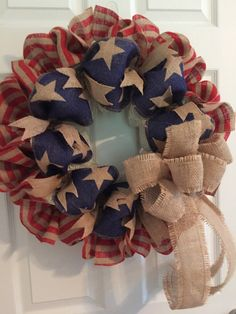 Patriotic wreath americana wreath fourth of july by roeswreaths by leanne dyi burlap wreath, burlap Diy Christmas Decorations, 4th Of July Decorations, Holiday Wreaths, Winter Wreaths, 4th Of July Wreaths, Burlap Christmas, Spring Wreaths, Christmas Holiday, Holiday Ideas