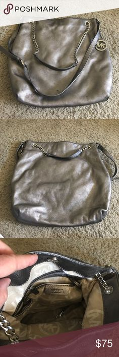 d2709eed06 Michael Kors Silver Leather Satchel Handbag Michael Kors Silver Leather  Satchel Handbag