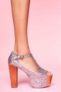 Jeffrey Campbell, Foxy Multi Glitter Platform, $145.00 (Want it in gold glitter!)