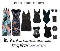 """Plus Size /Curvy Tropical Vacation"" by jessicasanderstx ❤ liked on Polyvore featuring Steve Madden, Lipsy, BCBGeneration, Kate Spade, Miu Miu, Alexander Wang, tropicalprints and hottropics"