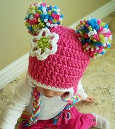 Spunky Crochet Pom Pom Beanie Hat for Babies and by DeuxdesAmis, $24.99