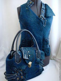 """Купить Жилет """"На изнанке"""" - тёмно-синий, джинс, деним, джинсовый стиль, валяный жилет"""