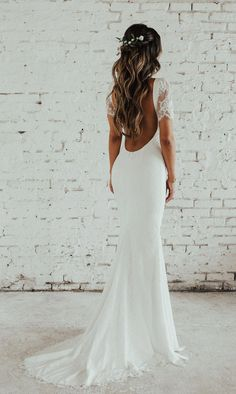Malaga Gown is part of braids - Katie May offers a selection of backless wedding gowns that are exquisite in aesthetic, quality, and construction Boho Wedding Hair, Wedding Hairstyles For Long Hair, Dream Wedding Dresses, Short Hair, Gown Wedding, Backless Wedding Dresses, Wedding Hair Styles, Bride Hairstyles For Long Hair, Wedding Dress Low Back