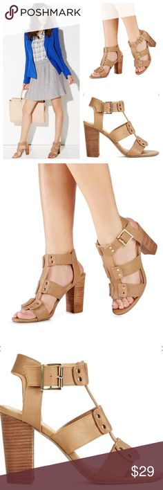 🆕Donny Nude Strapped Chunky Heel Sandal Look natural with the Donny. Features an open toe, studded hardware detailing, adjustable ankle strap, and a chunky wood heel. JustFab Shoes Heels