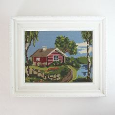 Vintage Framed Needlepoint  Lake House Cabin by LastCentury, $68.00