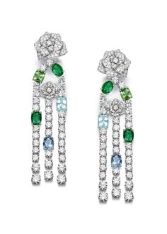 Piaget Rose Passion earrings in 18K white gold set with 316 diamonds, emeralds, green tourmalines,  aquamarines and  Paraiba tourmalines.