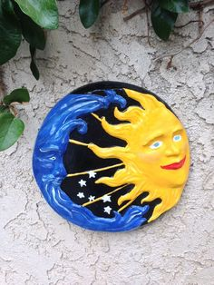Handcrafted cement round Sun and Moon eclipse yard/garden art. Indoor/outdoor #Handcrafted
