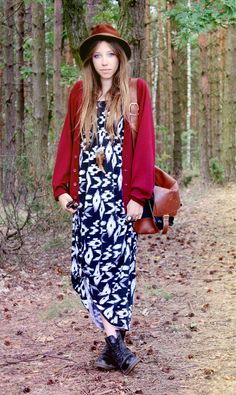 Maxi dress, cardigan and boots