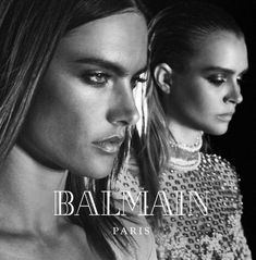 Balmain's Fall Winter advertising campaign featuring Kanye West, Kim Kardashian and supermodels cast captured by fashion photographer Steven Klein. Balmain, Kanye West And Kim, Olivier Rousteing, Josephine Skriver, Black And White Aesthetic, Alessandra Ambrosio, Advertising Campaign, Creative Director, Black And White Photography