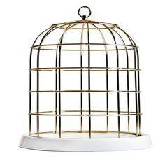 Twitable Gold Metal Birdcage with Porcelain Base