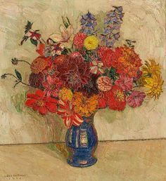 Léon De Smet (Belgian, 1881-1966), Vase fleuri, 1934. Oil on canvas, 65 x 54cm.