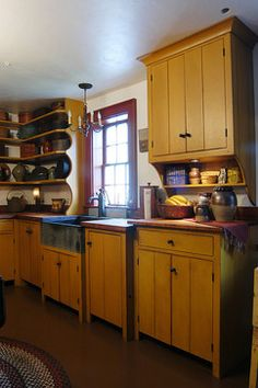 PRIMITIVE KITCHEN CUPBOARDS WITH CURLY MAPLE COUNTERS. - My Dream Kitchen!