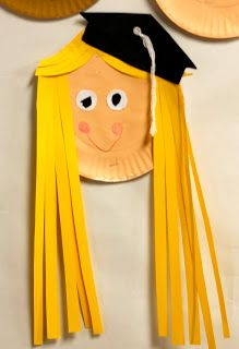 Eberhart's Explorers: Free mortarboard (hat) template.  Kinders painted the plate and added adorable details.