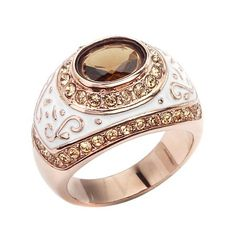 Amber and Champagne CZ Cocktail Ring