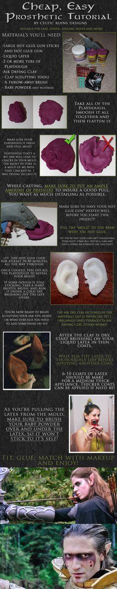 Cheap, Easy Prosthetic Tutorial (for ears) http://www.celticruinsdesigns.com/