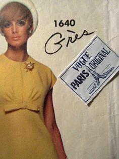 Vintage Vogue 1640 Sewing Pattern, Grès Dress Pattern, 1960s Dress Pattern, Bust 36, Paris Original, LABEL, 1960s Sewing Pattern, Mod Dress by sewbettyanddot on Etsy