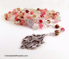 Our Lady of Perpetual Help Rosary Beads In Fire Cherry Quartz Come Visit UnbreakableRosaries.com