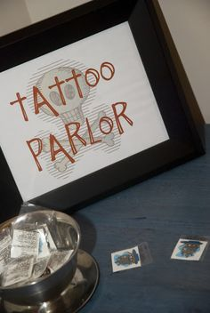 "Feathers & Sunshine: Aarrrgghh Matey!! A Pirate Birthday Party - LOVE that ""Tattoo Parlor"""