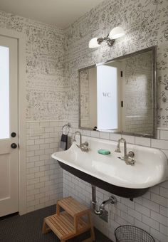 Modern Farmhouse: Pool bath. Great idea for the double sink needs but can fit into smaller space and still has great looks!