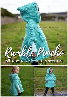 Charming poncho knitting pattern in sizes infant to adult XL. Love this gorgeous hooded poncho! Perfect for fall! Knitting ProjectsKnitting HatCrochet PatronesCrochet Amigurumi Charming poncho knitting pattern in sizes infant to adult XL. Easy Knitting Projects, Knitting For Kids, Free Knitting, Diy Projects, Baby Poncho, Hooded Poncho, Girls Poncho, Baby Cardigan, Hand Knitted Sweaters