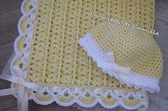 Crochet Baby Blanket Borders, Baby Girl Crochet Blanket, Free Baby Blanket Patterns, Crochet Baby Clothes, Knitted Baby Blankets, Newborn Crochet, Crochet Blanket Patterns, Baby Knitting Patterns, Camilla
