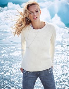 Jumper in the colors grey, wool white - white - in the MADELEINE online collection