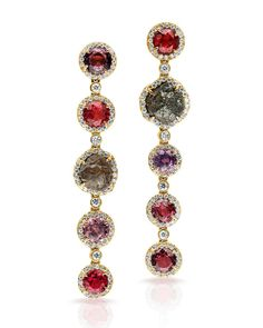 Spinel and raw diamonds. Love this combo. Elegant and edgy, perfect balance! #spinel #rawdiamomd #earlove #oneofakind #pamelahuizenga #edgy #altjewelry #mykindofearring #rockhound #ThisIsTheYearOfSue