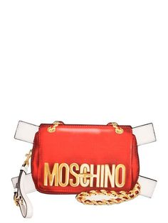 MOSCHINO Bag Tabs Printed Leather Clutch, Red. #moschino #bags #shoulder bags #clutch #leather #hand bags #