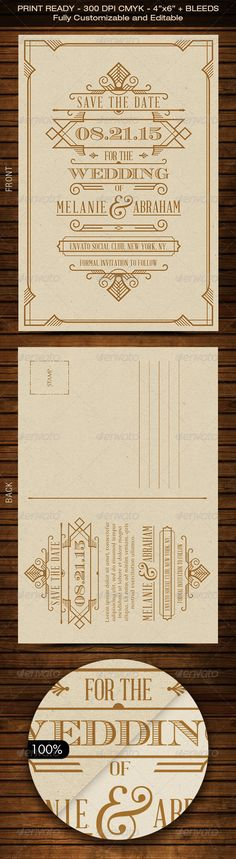 Wedding Save the Date Post Card - Art Deco 04 #geometric shapes #geometrical #glamour • Available here → http://graphicriver.net/item/wedding-save-the-date-post-card-art-deco-04/8586381?s_rank=42&ref=pxcr